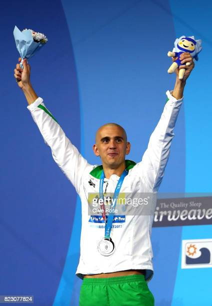 Silver medalist Laszlo Cseh of Hungary poses with the medal won during the Men's 200m Butterfly final on day thirteen of the Budapest 2017 FINA World...