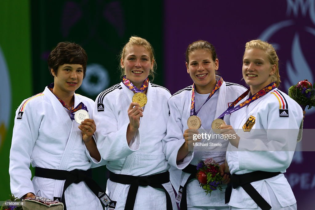 Silver medalist Laura Vargas Koch of Germany gold medalist Kim Polling of the Netherlands and bronze medalists Bernadette Graf of Austria and...