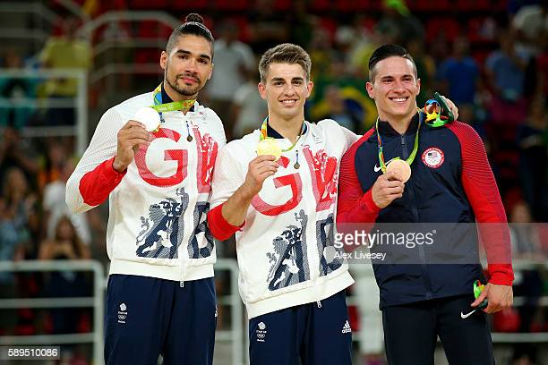 Silver medalist Louis Smith of Great Britain gold medalist Max Whitlock of Great Britain bronze medalist Alexander Naddour of the United States pose...