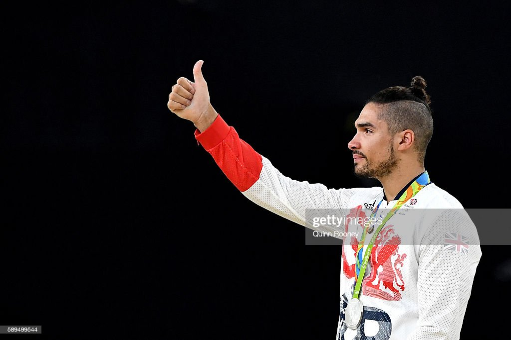 Silver medalist Louis Smith of Great Britain thumbs up on the podium at the medal ceremony for the Men's Pommel Horse Final on Day 9 of the Rio 2016 Olympic Games at the Rio Olympic Arena on August 14, 2016 in Rio de Janeiro, Brazil.