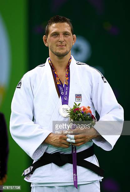 Silver medalist Lukas Krpalek of the Czech Republic stands on the podium during the medal ceremony for the Men's Judo 100kg during day fifteen of the...