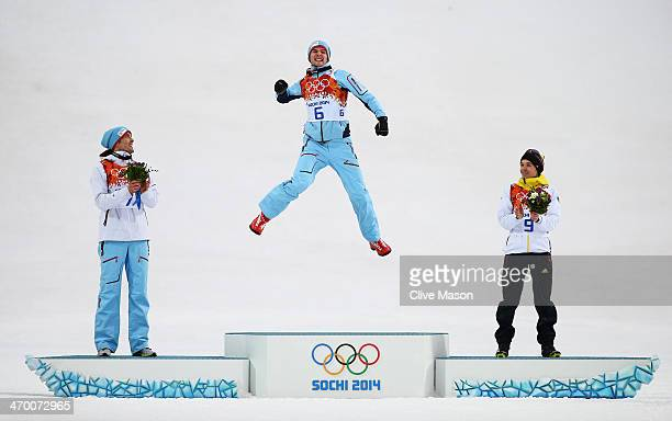 Silver medalist Magnus Hovdal Moan of Norway gold medalist Joergen Graabak of Norway and bronze medalist Fabian Riessle of Germany celebrate on the...
