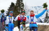 Silver medalist Maksym Yarovyi of Ukraine gold medalist Chris Klebl of Canada and bronze medalist Grigory Murygin of Russia pose during the medal...