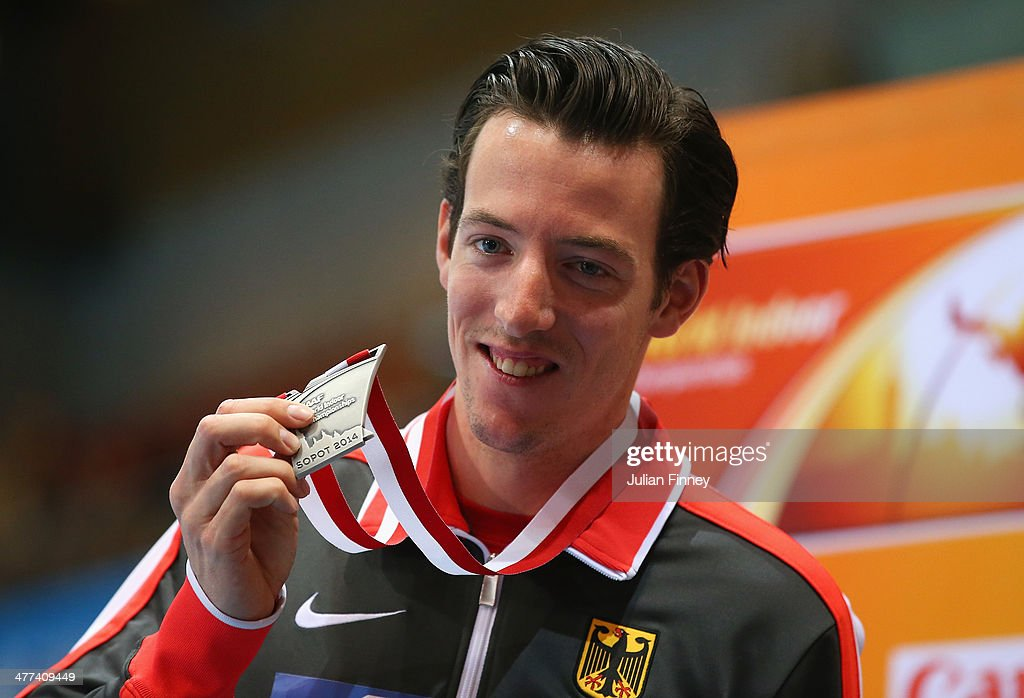 Silver medalist <a gi-track='captionPersonalityLinkClicked' href=/galleries/search?phrase=Malte+Mohr&family=editorial&specificpeople=5517776 ng-click='$event.stopPropagation()'>Malte Mohr</a> of Germay poses during the medal ceremony for the Men's Pole Vault during day three of the IAAF World Indoor Championships at Ergo Arena on March 9, 2014 in Sopot, Poland.