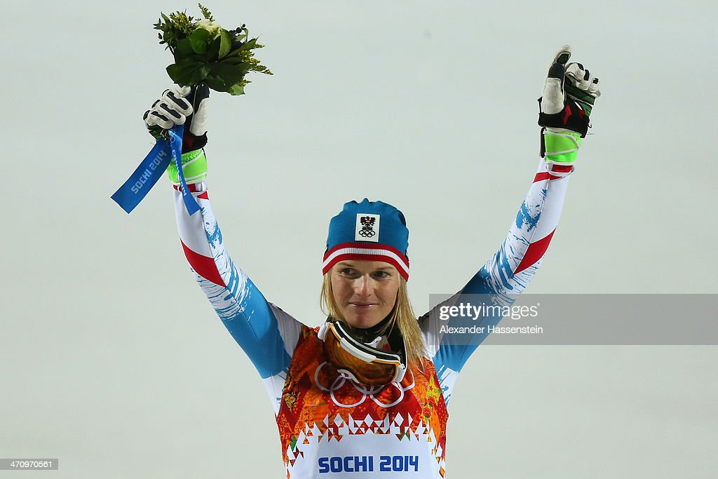 Silver medalist Marlies Schild of Austria celebrates during the flower ceremony for the Women's Slalom during day 14 of the Sochi 2014 Winter Olympics at Rosa Khutor Alpine Center on February 21, 2014 in Sochi, Russia.