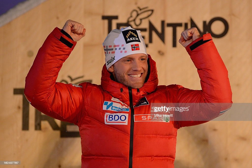 Silver medalist Martin Sundby of Norway celebrates at the medal ceremony for the Men's Skiathlon at the FIS Nordic World Ski Championships on February 23, 2013 in Val di Fiemme, Italy.