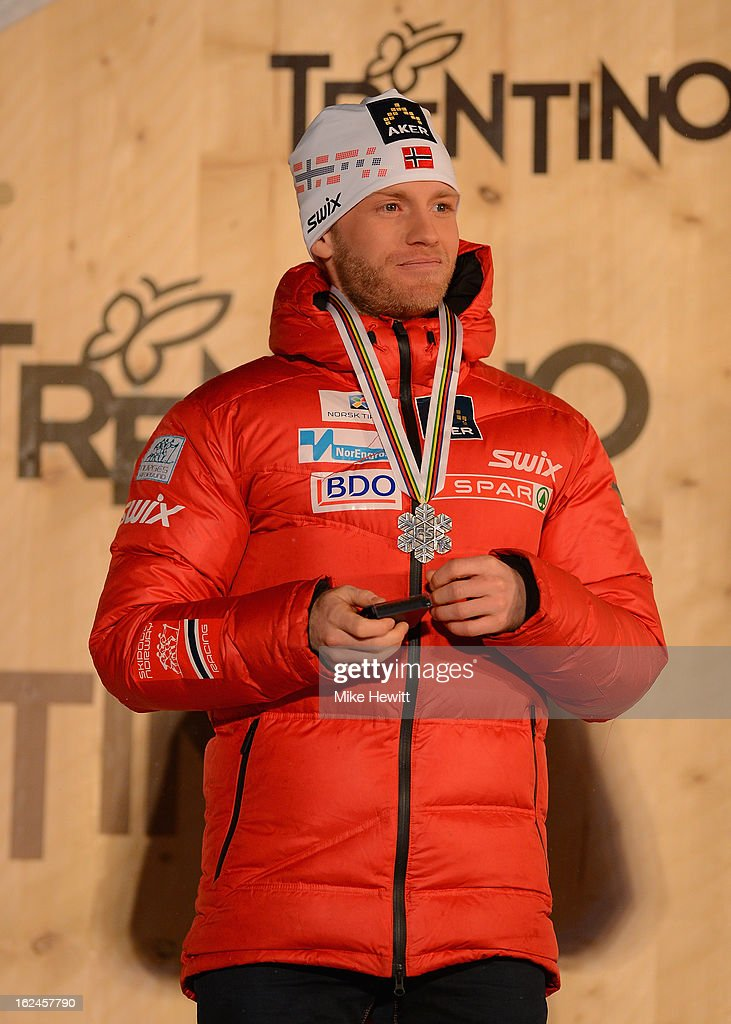 Silver medalist Martin Sundby of Norway poses at the medal ceremony for the Men's Skiathlon at the FIS Nordic World Ski Championships on February 23, 2013 in Val di Fiemme, Italy.