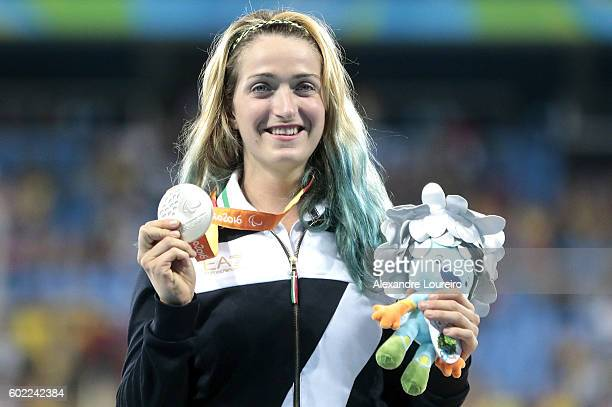 Silver medalist Martina Caironi of Italy celebrate on the podium at the medal ceremony for the Womenâs Long Jump â T42 Final during day 3 of the Rio...