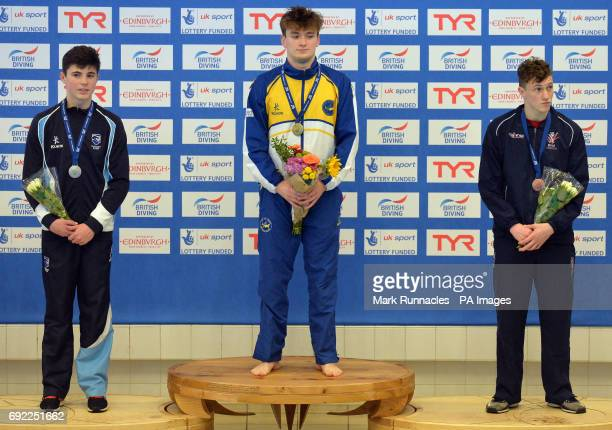 Silver medalist Matthew Dixion Gold medalist Matty Lee and Bronze Medalist Noah Williams at the medal ceremony for the mens 10m platform final during...