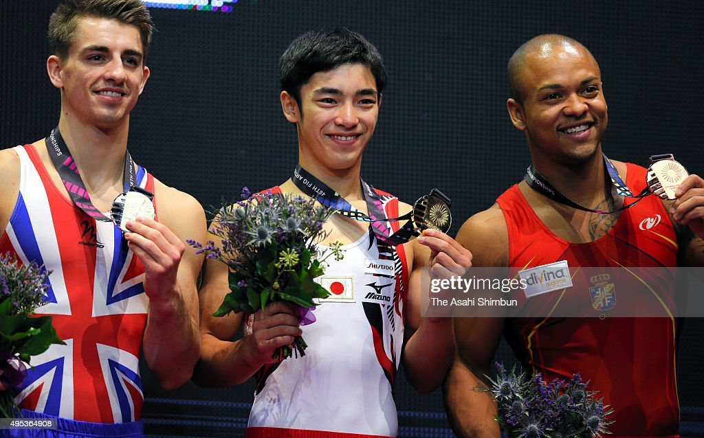 Silver medalist Max Whitlock of Great Britain gold medalist Kenzo Shirai of Japan and bronze medalist Rayderley Miguel Zapata Santana of Spain pose...