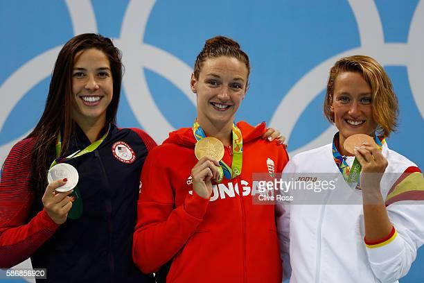 Silver medalist Maya Dirado of the United States of America gold medal medalist Katinka Hosszu and bronze medalist Mireia Belmonte Garcia of Spain...