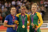 Silver medalist Megan Fisher of the United States Gold medalist Susan Powell of Australia and bronze medalist Alexandra Green of Australia pose on...