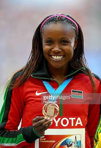Silver medalist Mercy Cherono of Kenya on the podium during the medal ceremony for the Women's 5000 metres during Day Eight of the 14th IAAF World...
