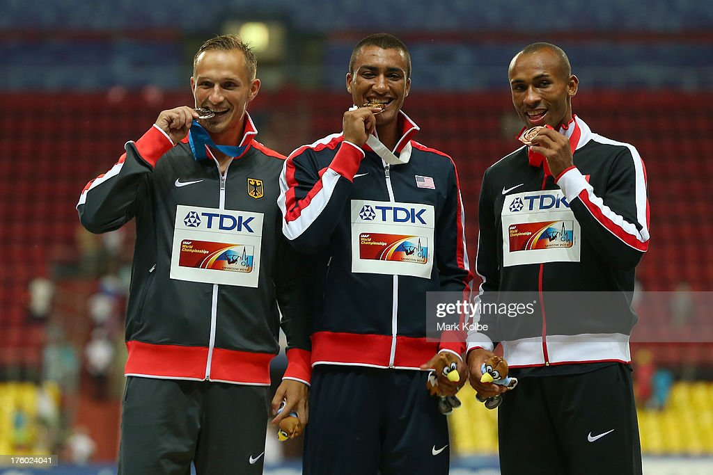 Silver medalist Michael Schrader of Germany, gold medalist Ashton Eaton of United States and bronze medalist Damian Warner of Canada stand on the podium during the medal ceremony for the Decathlon Men during Day Two of the 14th IAAF World Athletics Championships Moscow 2013 at Luzhniki Stadium on August 11, 2013 in Moscow, Russia.
