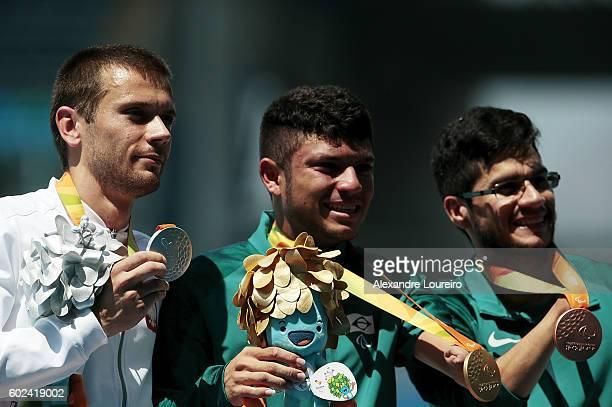 Silver Medalist Michal Derus of Poland Gold medalist Petrucio Ferreira dos Santos of Brazil and Bronze medalist Yohansson Nascimento of Brazil...