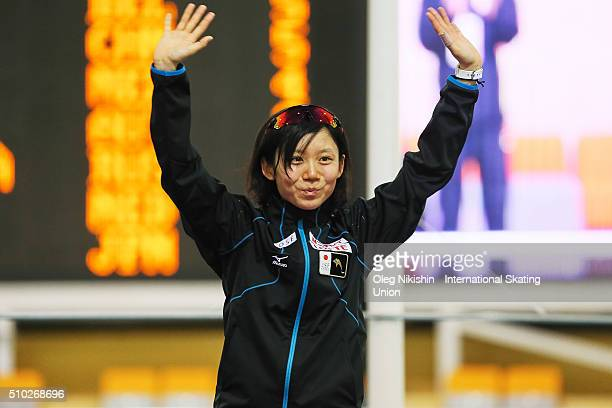 Silver medalist Miho Takagi of Japan poses during a victory ceremony for the women's mass start race during day 4 of the ISU World Single Distances...