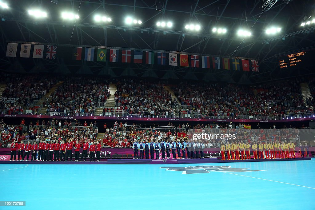 Silver medalist Montenegro, gold medalist Norway and bronze medalist Spain pose on the podium during the medal ceremony for the Women's Handball Final on Day 15 of the London 2012 Olympics Games at Basketball Arena on August 11, 2012 in London, England.