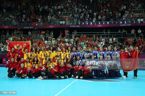 Silver medalist Montenegro gold medalist Norway and bronze medalist Spain pose on the podium during the medal ceremony for the Women's Handball Final...