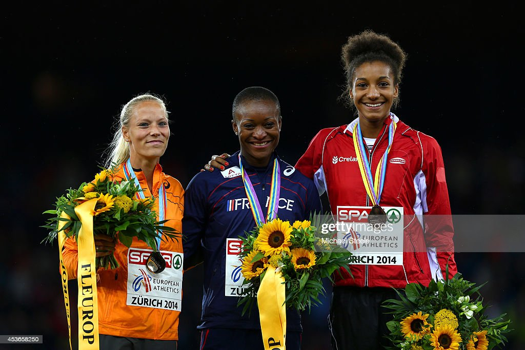 Silver medalist <a gi-track='captionPersonalityLinkClicked' href=/galleries/search?phrase=Nadine+Broersen&family=editorial&specificpeople=9439352 ng-click='$event.stopPropagation()'>Nadine Broersen</a> of the Netherlands, gold medalist Antoinette Nana Djimou of France and bronze medalist <a gi-track='captionPersonalityLinkClicked' href=/galleries/search?phrase=Nafissatou+Thiam&family=editorial&specificpeople=10523409 ng-click='$event.stopPropagation()'>Nafissatou Thiam</a> of Belgium stand on the podium during the medal ceremony for the Women's Heptathlon during day four of the 22nd European Athletics Championships at Stadium Letzigrund on August 15, 2014 in Zurich, Switzerland.