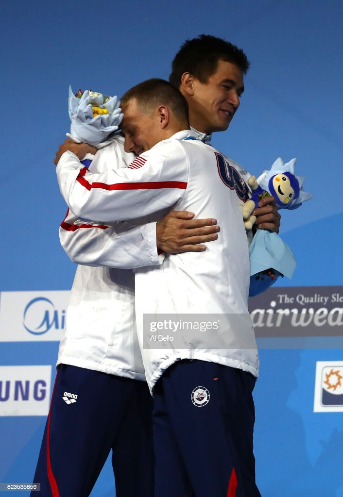 Silver medalist Nathan Adrian of the United States and gold medalist Caeleb Remel Dressel of the United States pose with the medals won during the Men's 100m Freestyle final on day fourteen of the Budapest 2017 FINA World Championships on July 27, 2017 in Budapest, Hungary.