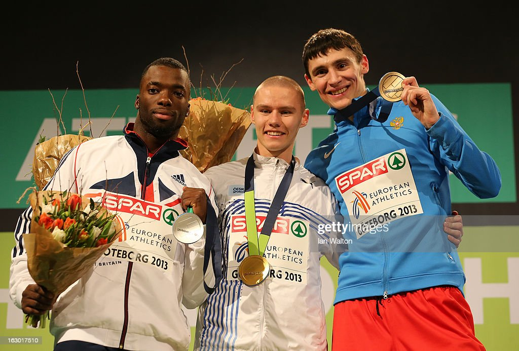 Silver medalist Nigel Levine of Great Britain and Northern Ireland, Gold medalist Pavel Maslak of Czech Republic and bronze medalist Pavel Trenikhin of Russia pose during the victory ceremony for the Men's 400m during day three of European Indoor Athletics at Scandinavium on March 3, 2013 in Gothenburg, Sweden.