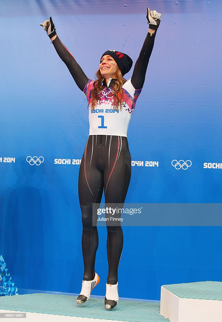 Silver medalist Noelle PikusPace of the United States celebrates on the podium during the flower ceremony for the Women's Skelton on Day 7 of the...