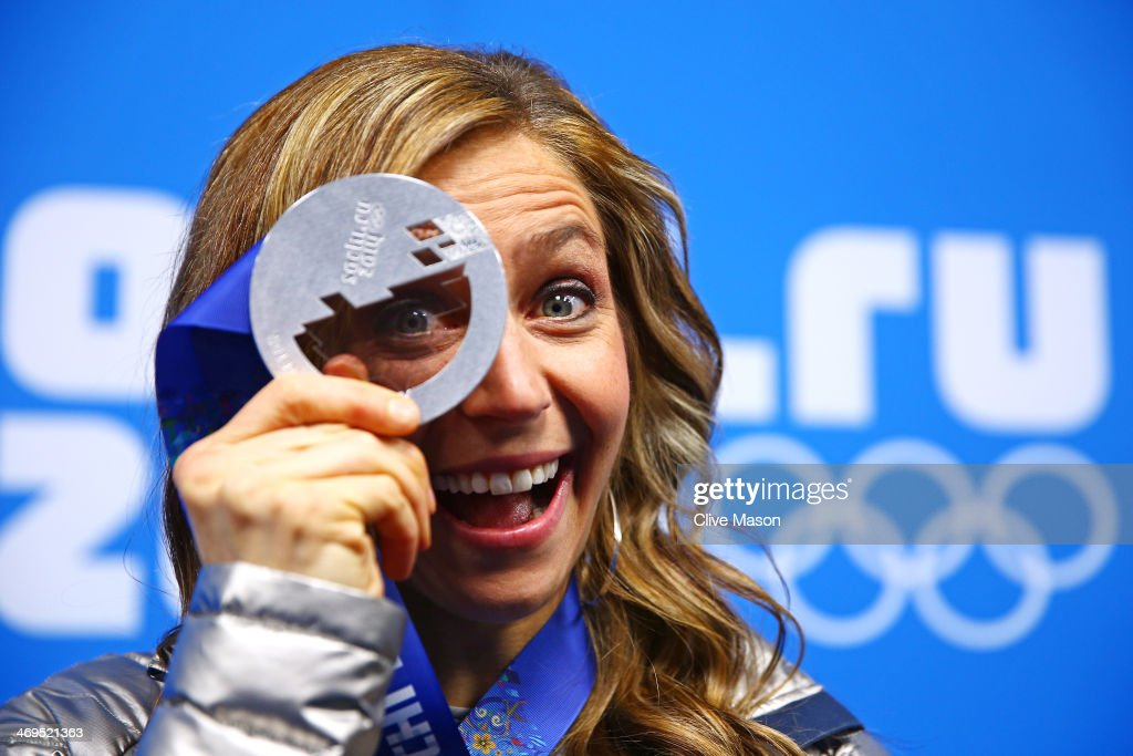 Silver medalist Noelle PikusPace of the United States celebrates during the medal ceremony for the Women's Skelton on day 8 of the Sochi 2014 Winter...