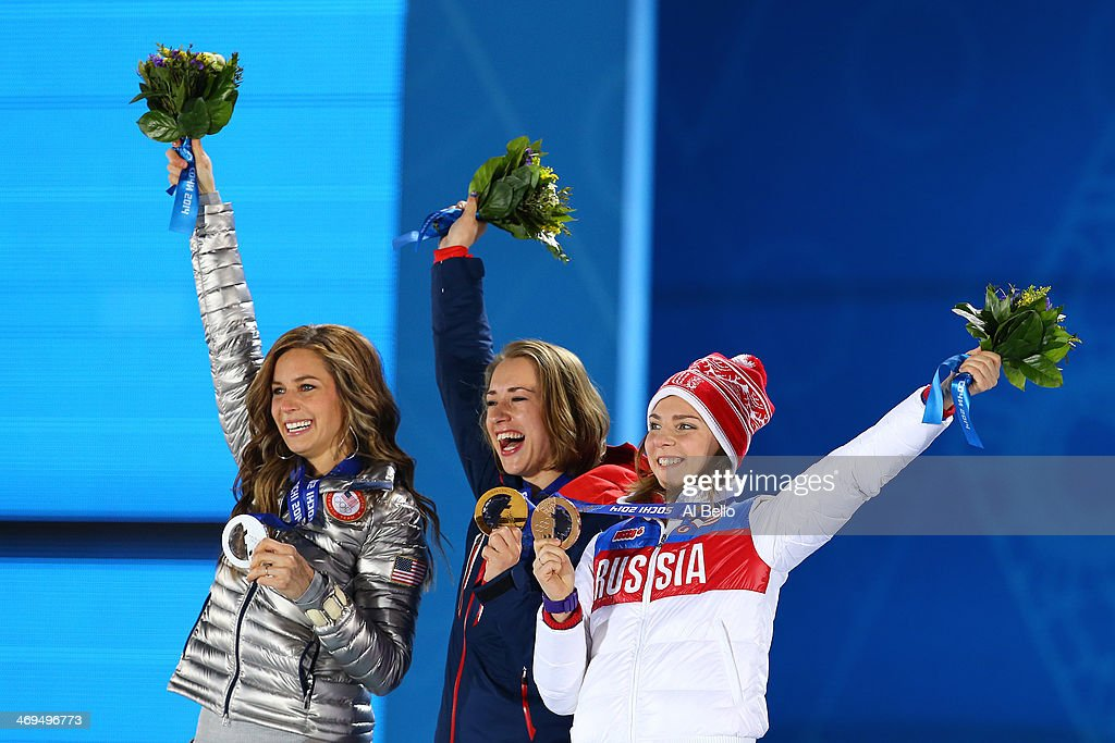Silver medalist Noelle PikusPace of the United States gold medalist Lizzy Yarnold of Great Britain and bronze medalist Elena Nikitina of Russia on...
