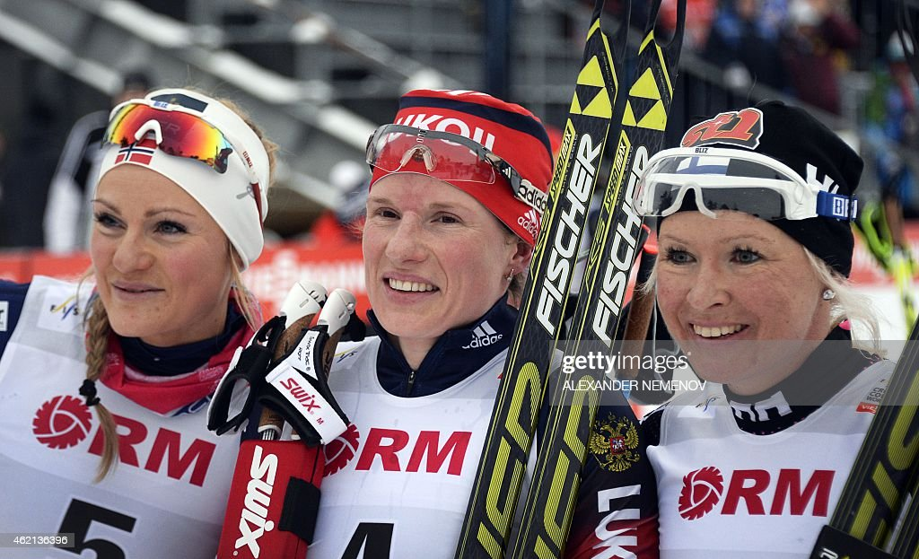 Silver medalist Norway's Ek Martine Hagen, Gold medalist Russia's <a gi-track='captionPersonalityLinkClicked' href=/galleries/search?phrase=Yulia+Tchekaleva&family=editorial&specificpeople=6587740 ng-click='$event.stopPropagation()'>Yulia Tchekaleva</a>, and bronze medalist Finland's <a gi-track='captionPersonalityLinkClicked' href=/galleries/search?phrase=Riitta-Liisa+Roponen&family=editorial&specificpeople=4173513 ng-click='$event.stopPropagation()'>Riitta-Liisa Roponen</a> pose after the women's skiathlon 7.5 km classic + 7.5 km free race of the FIS Cross-country World Cup event on January 25, 2015 in Rybinsk.
