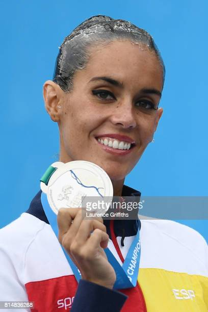 Silver medalist Ona Carbonell of Spain poses with her medal during the Womens Synchro Solo Technical final on day two of the Budapest 2017 FINA World...