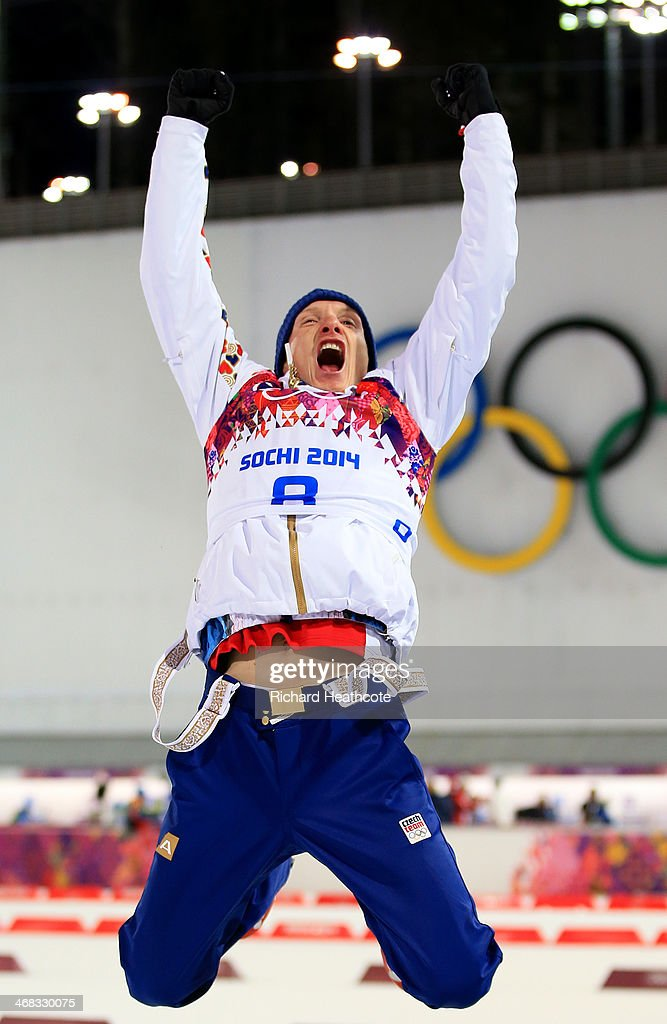 Silver medalist Ondrej Moravec of Czech Republic celebrates during the flower ceremony for the Men's 12.5 km Pursuit during day three of the Sochi 2014 Winter Olympics at Laura Cross-country Ski & Biathlon Center on February 10, 2014 in Sochi, Russia.