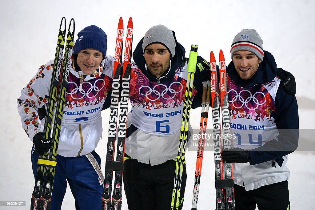 Silver medalist Ondrej Moravec of Czech Republic, gold medalist Martin Fourcade of France and bronze medalist Jean Guillaume Beatrix of France pose after the Men's 12.5 km Pursuit during day three of the Sochi 2014 Winter Olympics at Laura Cross-country Ski & Biathlon Center on February 10, 2014 in Sochi, Russia.