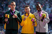 Silver medalist Oscar Pistorius from South Africa gold medalist Alan Fonteles Cardoso Oliveira from Brazil and bronze medalist Blake Leeper from the...