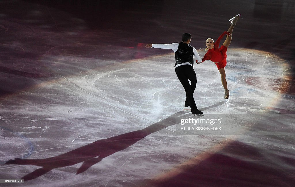 Silver medalist pair Germany's Aliona Savchenko and Robin Szolkowy perform on ice at the 'Dom Sportova' sports hall in Zagreb on January 27, 2013 during the gala of the ISU European Figure Skating Championships.