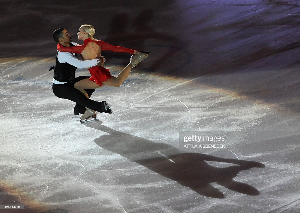 Silver medalist pair Germany's Aliona Savchenko and Robin Szolkowy perform on ice at the 'Dom Sportova' sports hall in Zagreb on January 27, 2013 during the gala of the ISU European Figure Skating Championships. AFP PHOTO / ATTILA KISBENEDEK