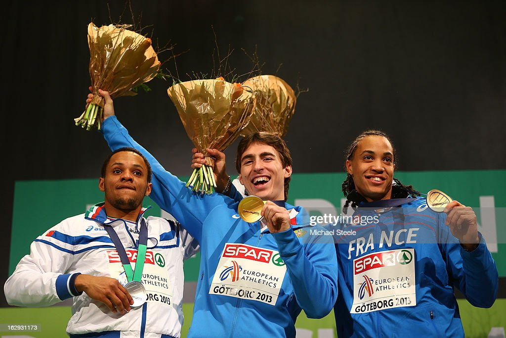 Silver medalist Paolo Dal Molin of Italy, Gold medalist Sergei Shubenkov of Russia and bronze medalist Pascal Martinot Lagarde of France pose during the victory ceremony for the Men's 60m Hurdles during day one of the European Athletics Indoor Championships at Scandinavium on March 1, 2013 in Gothenburg, Sweden.