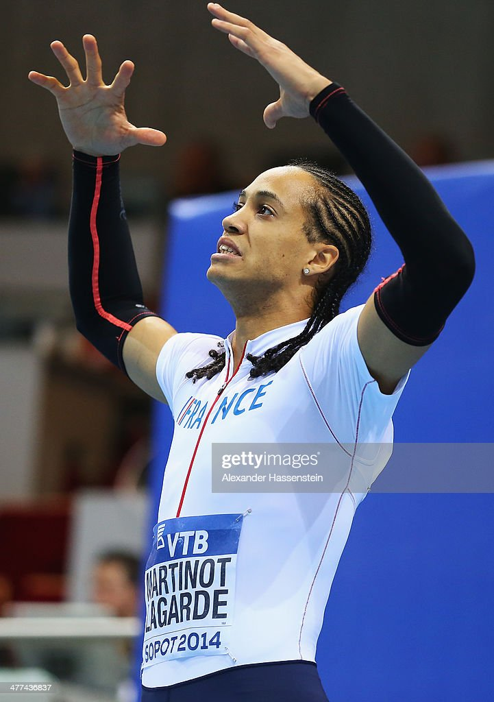 Silver medalist <a gi-track='captionPersonalityLinkClicked' href=/galleries/search?phrase=Pascal+Martinot-Lagarde&family=editorial&specificpeople=7114926 ng-click='$event.stopPropagation()'>Pascal Martinot-Lagarde</a> of France reacts after the Men's 60m Hurdles Final during day three of the IAAF World Indoor Championships at Ergo Arena on March 9, 2014 in Sopot, Poland.