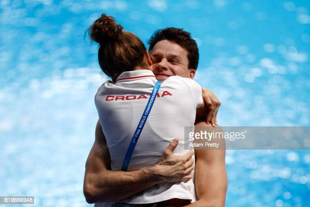 Silver medalist Patrick Hausding of Germany celebrates with his girlfriend after the Men's 3M Springboard final on day seven of the Budapest 2017...