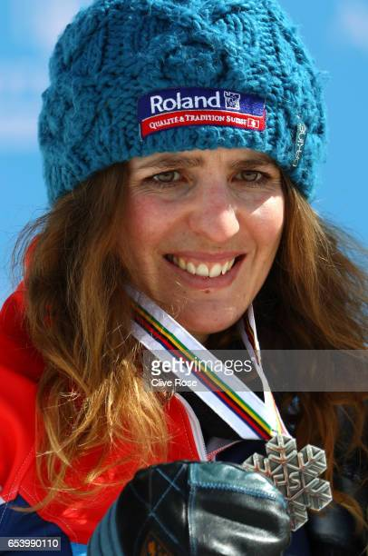 Silver medalist Patrizia Kummer of Switzerland celebrates during the medal cermony for the Women's Parallel Giant Slalom on day 9 of the FIS...