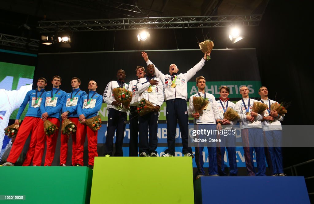Silver medalist Pavel Trenikhin,Iurii Trambovetskiy,Konstantin Svechkar,Vladimir Krasnov of Russia, Gold medalists Michael Bingham, Richard Buck, Nigel Levine and Richard Strachan of Great Britain and Northern Ireland and bronze medalists Antoine Gillet,Kevin Borlee,Arnaud Ghislain and Tim Rummens of Belgium pose during the victory ceremony for the Men's 4x400m Relay during day three of European Indoor Athletics at Scandinavium on March 3, 2013 in Gothenburg, Sweden.