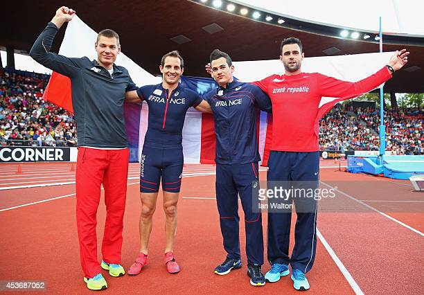 Silver medalist Pawel Wojciechowski of Poland gold medalist Renaud Lavillenie of France and joint bronze medalists Kevin Menaldo of France and Jan...