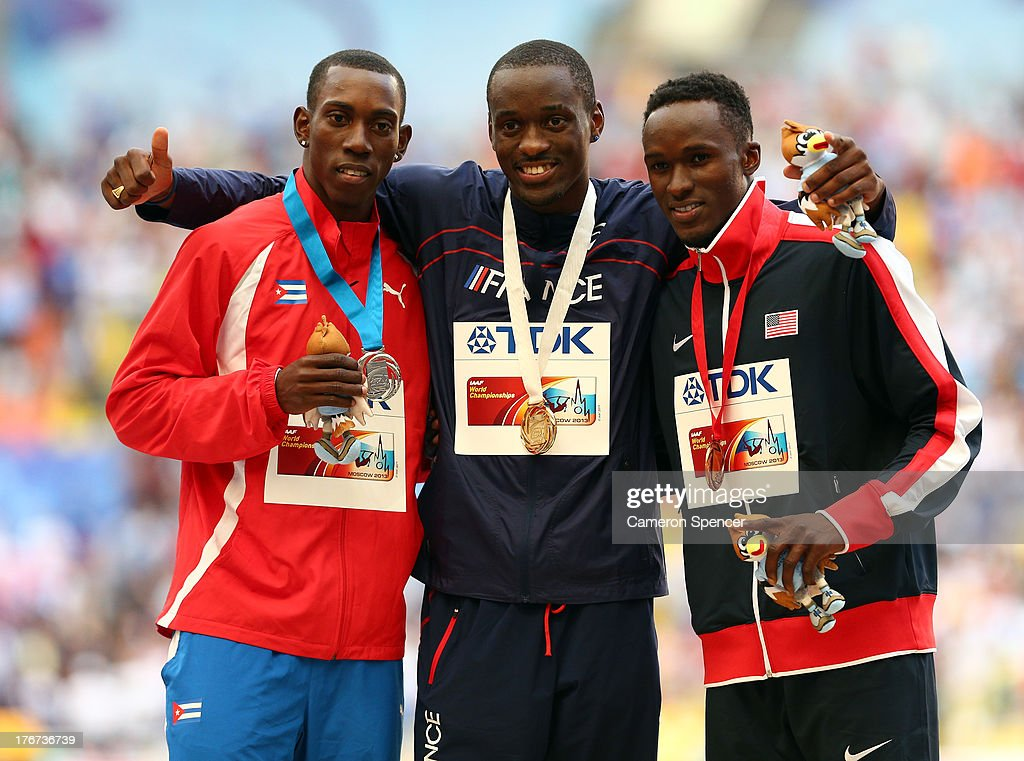 Silver medalist Pedro Pablo Pichardo of Cuba, gold medalist <a gi-track='captionPersonalityLinkClicked' href=/galleries/search?phrase=Teddy+Tamgho&family=editorial&specificpeople=5434719 ng-click='$event.stopPropagation()'>Teddy Tamgho</a> of France and bronze medalist <a gi-track='captionPersonalityLinkClicked' href=/galleries/search?phrase=Will+Claye&family=editorial&specificpeople=8138118 ng-click='$event.stopPropagation()'>Will Claye</a> of the United States stand on the podium during the medal ceremony for the Men's Triple Jump during Day Nine of the 14th IAAF World Athletics Championships Moscow 2013 at Luzhniki Stadium on August 18, 2013 in Moscow, Russia.
