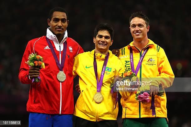 Silver medalist Raciel Gonzalez Isidoria of Cuba Gold medalist Yohansson Nascimento of Brazil bronze medalist Simon Patmore of Australia pose on the...