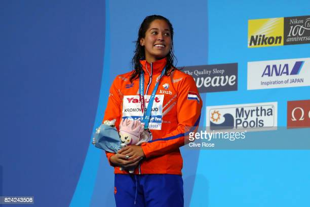 Silver medalist Ranomi Kromowidjojo of the Netherlands poses with the medal won during the Women's 50m Butterfly final on day sixteen of the Budapest...