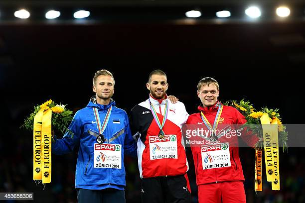 Silver medalist Rasmus Magi of Estonia gold medalist Kariem Hussein of SwitzerlaKariem Hussein of Switzerlandand bronze medalist Denis Kudryavtsev of...