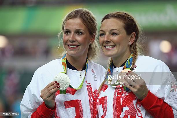 Silver medalist Rebecca James of Great Britain and bronze medalist Katy Marchant of Great Britain celebrate during the medal ceremony after the...