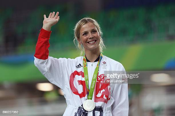 Silver medalist Rebecca James of Great Britain celebrates during the medal ceremony after the Women's Sprint Finals race on Day 11 of the Rio 2016...