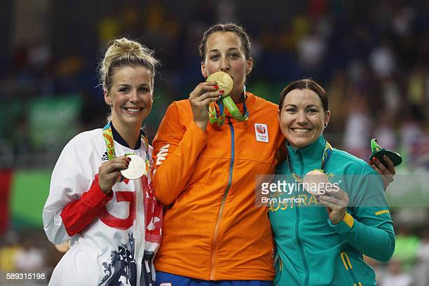 Silver medalist Rebecca James of Great Britain gold medalist Elis Ligtlee of the Netherlands and bronze medalist Anna Meares of Australia celebrate...