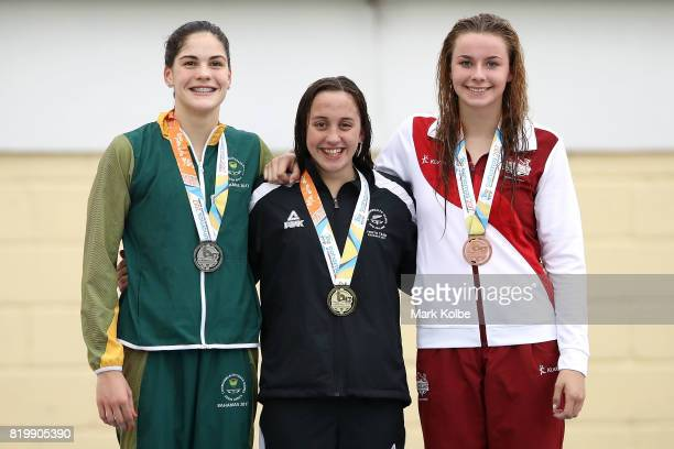 Silver medalist Rebecca Meder of South Africa Gold medalist Mya Rasmussen of New Zealand and bronze medalist Ciara Schlosshan of England pose after...