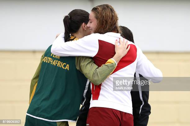 Silver medalist Rebecca Meder of South Africa Gold medalist Mya Rasmussen of New Zealand and bronze medalist Ciara Schlosshan of England congratulate...